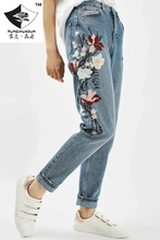 HDP022 женская мода Цветок вышивка джинсы ложные две брюки девять нерегулярные длина лодыжки брюки вышивка джинсы/5 размер