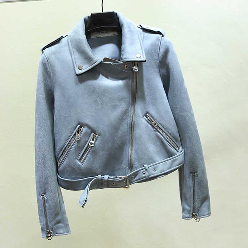 Fitaylor Baru Musim Gugur Faux Suede Wanita Jaket Motor Jaket Kulit Buatan Wanita BIKER Tipis Putih Pu Mantel