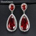 Lujo Red Water Drop CZ Imitado Diamante Plateado Largo Cuelga Gota Pendientes de La Joyería Para Las Mujeres Del Partido de Tarde ER304