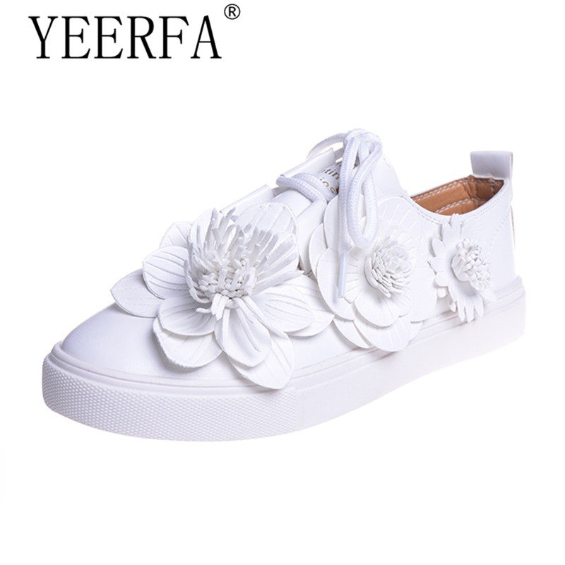 YIERFA Women Flats Lace up Fashion Flower Shoes Woman Classic White Sweet Autumn Platform Hot Sale Daily Girls' Shoes size 35-39 fashion women shoes woman flats high quality comfortable pointed toe rubber women sweet flats hot sale shoes size 35 40