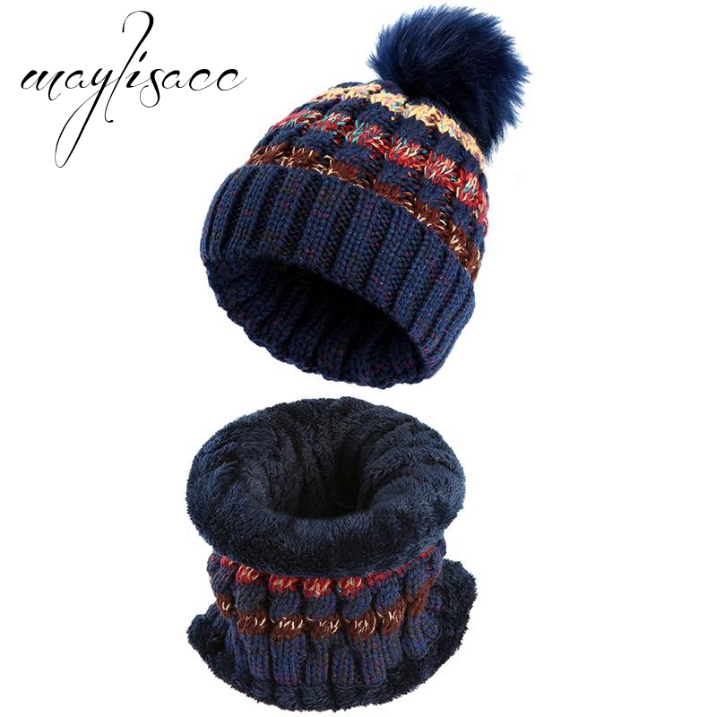 Maylisacc Women Winter Warm Knitted Hat With Scarves Fashion Comfortable For Women Outdoor Sport Skating Skiing Scarf Hat Set