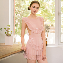 Yhotmeng sexy pajamas women's lace ice silk transparent mesh temptation lace strap girl nightdress suit rose pink lace details pajamas suit with imitation silk material