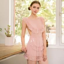Yhotmeng sexy pajamas womens lace ice silk transparent mesh temptation strap girl nightdress suit