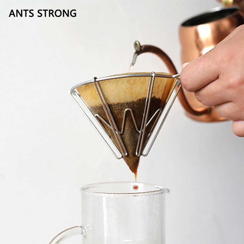 ANTS STRONG Creative unique coffee filter cup/reusable stainless steel V shape drip filter pot coffee funnel filter mug