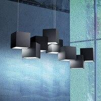 Ortogonal Beyaz/Siyah Ofis LED kolye Işıkları Minimalist Süspansiyon Salonu Hanglamp Restoran Yatak Odası Kolye Lamba 220 V