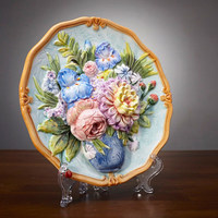 Flower ceramic Decorative Flat Plate for hanging porcelain relief hand painted plate wall cerative decoration supplies
