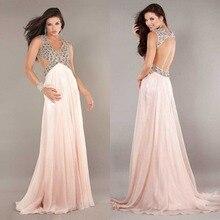 2015 begrenzte Prom Kleider Sexy Neue A-line V-ausschnitt Lange Chiffon Abendkleid Bodenlangen Backless Abend-formale Kleid Kristalle F888