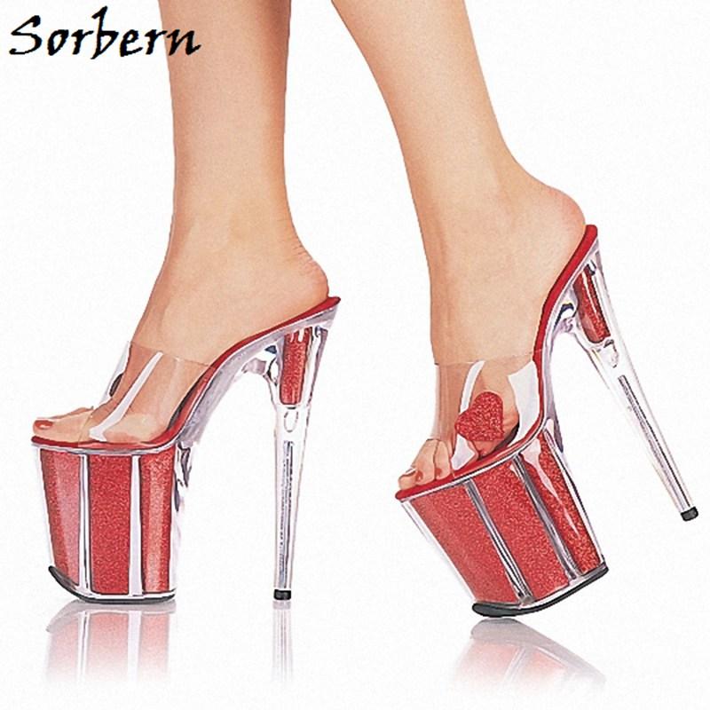 Sorbern Red Perspex Heels Slippers Sweet Party Decorations Women Shoes Custom Color Ladies Slippers Summer Platform Open Toe