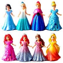 Magic Clip Princess Dress Magiclip Dolls Action Figures Rapunzel Merida Elsa Anna Statue Belle Anime Figurines Kids Toys Gift