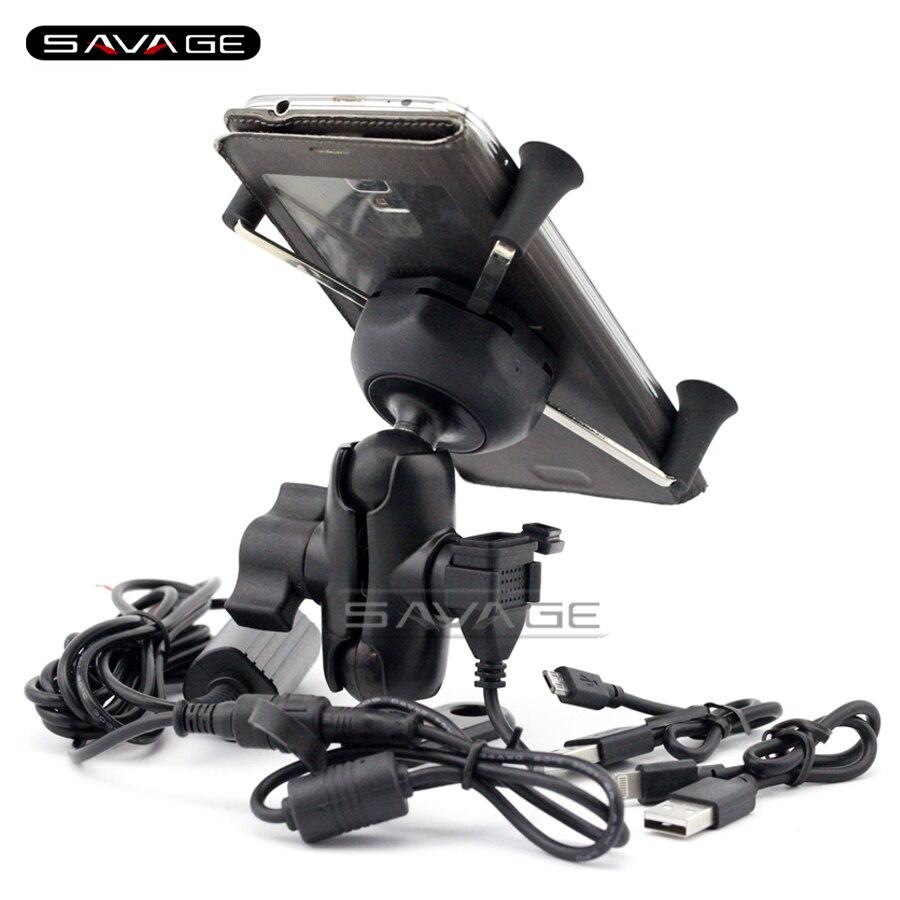 For SUZUKI DL650 V-STROM DL1000 GSX1300 B-KING Motorcycle Navigation Frame Mobile Phone Mount Bracket with USB charge port цена