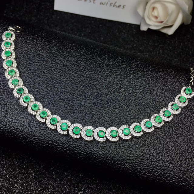 e8587be2c0b9 Emerald hain bracelet Free shipping Natural real emerald 925 sterling silver  0.15ct 24pcs gemstone For men or women  SL18062212