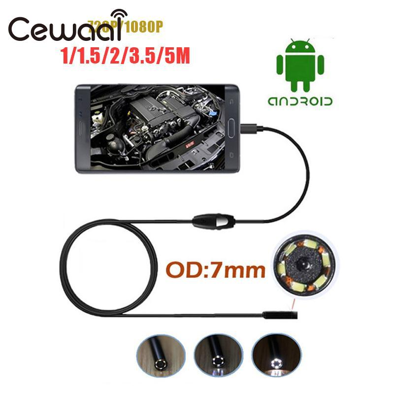 Cewaal Portable New 7mm 1M/1.5M/2M/3.5M/5M Endoscope 6 LED Waterproof Android Endoscope Inspection Tube Video Mini Micro Cameras