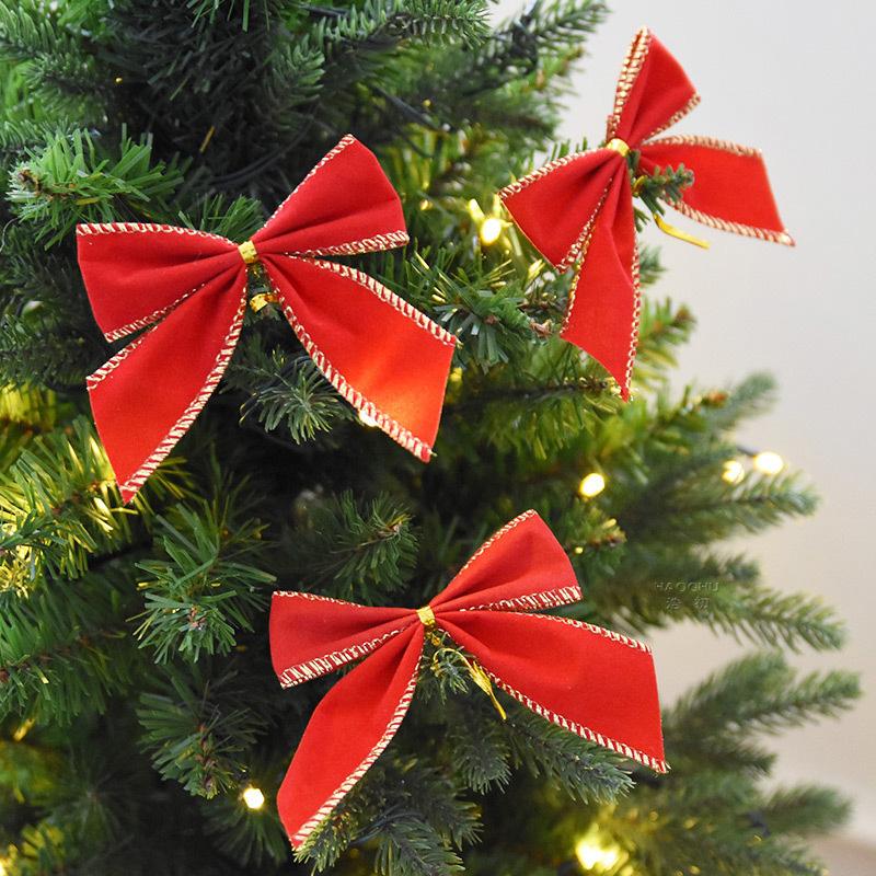 12Pcs 6cm Christmas Tree Bow Bowknot Xmas Ornament Garland Party Home Decor Fine