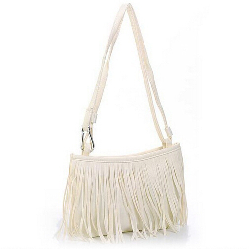 European Style Quality Pu Leather Women Bag Simple Fashion Cute Little Fringed Bag Shoulder Diagonal Handbags  Free Shipping