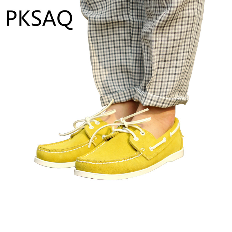 Spring Autumn Yellow Retro Style Men Boat Shoes Makehand Business Leather Casual Shoes Lace Up Flat Men's Shoes Size 37-46 men s leather shoes vintage style casual shoes comfortable lace up flat shoes men footwears size 39 44 pa005m