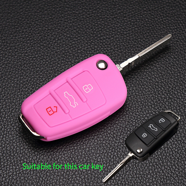 New 3 Button Foldable Silicone Key Cover Fob Shell Holder For Audi A1 A2 A3 A4 A5 A6 A7 S7 S6 S8 S8 Q3 Q5 Q7 R8 TT RS5 Protector
