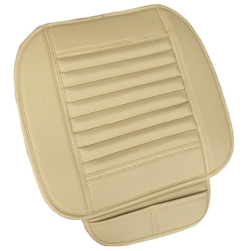 AUTO Car Bamboo Charcoal Leather Seat Cushion Breathable Therapy Chair Cover Pad, Beige