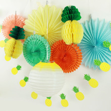 ФОТО summer party decoration set (lantern,paper fans,pineapples garland) tropical hawaiian birthday bridal show pool party pack of 9