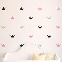 36 шт./компл. Детские Спальня украсить стены наклейки принцессы детской Комнаты Настенный декор с вышивкой в виде короны, виниловые наклейки на стены Стикеры для детей