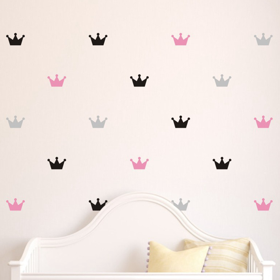 36pcs/set Kids Bedroom Decorate Wall Decals Princess Baby Room Wall Decor Crown Pattern Vinyl Wall Sticker For Kids