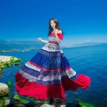 새로운 고품질 폭발 레저 빈티지 우아한 파티 드레스 여성 패치 워크 민소매 봄 여름 캐주얼 셔츠 드레스