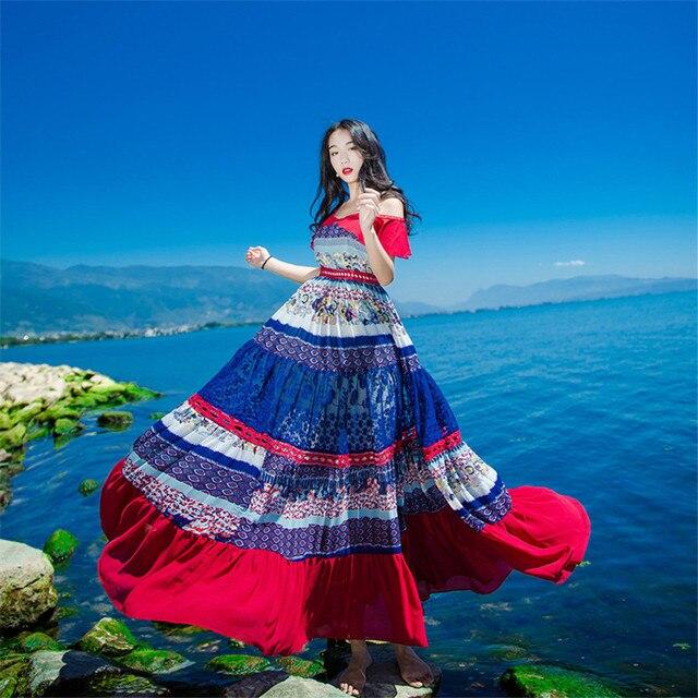 ใหม่คุณภาพสูงระเบิด Vintage Vintage Elegant Party Dresses ผู้หญิง Patchwork ฤดูใบไม้ผลิฤดูร้อนชุดลำลอง