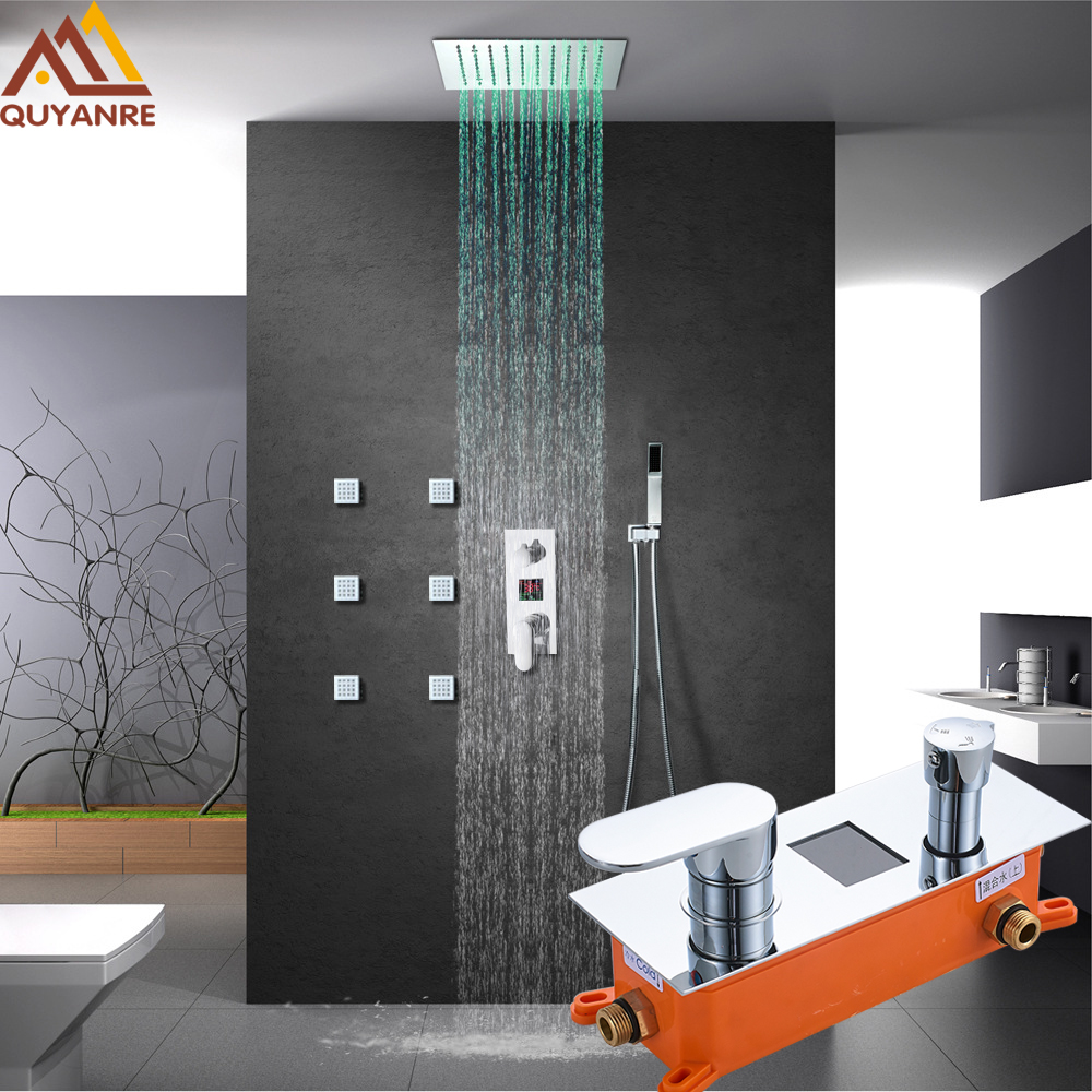 купить Luxury LCD Digital Shower Faucets Set LED Rainfall Shower Head Side SPA Massage Jets 3-way Digital Display Mixer Tap Bath Shower по цене 8159.7 рублей