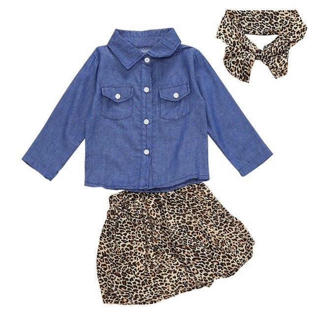 7d83e0a975ff2 US $10.17 44% OFF|3PCS Set Cute Baby Girls Clothes 2017 Summer Toddler Kids  Denim Tops+Leopard Culotte Skirt Outfits Children Girl Clothing Set-in ...