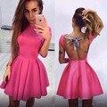 Hot Pink Vestidos de Cóctel Corto Mangas Dubai Abaya Una Línea sin respaldo robe de cóctel Corto Vestido Del Partido Red Carpet Celebrity vestido