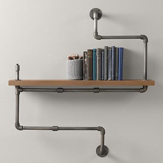 40*15cm Handmade Wall Hanging Iron Bookcase DIY Industrial Retro Wall Mount Iron Pipe Shelf Storage Shelving Bookshelf Z20