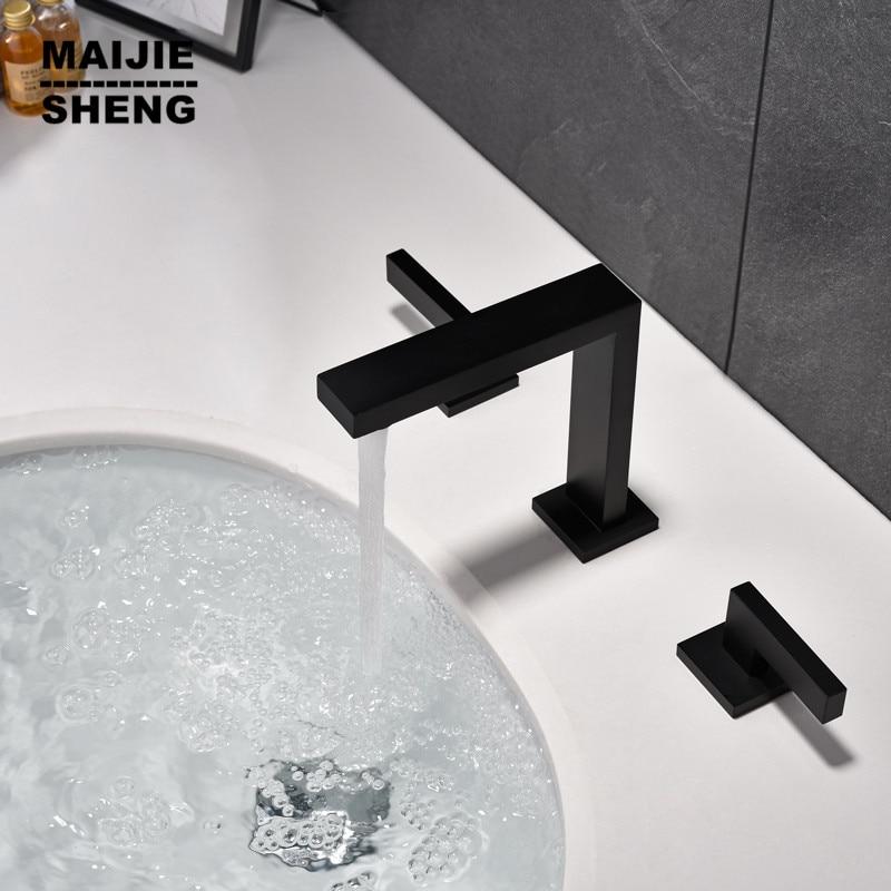 Black Tap double handle Basin faucet Hot And Cold Water Wash sink Faucet Bathroom bathroom black faucet deck mixer faucet
