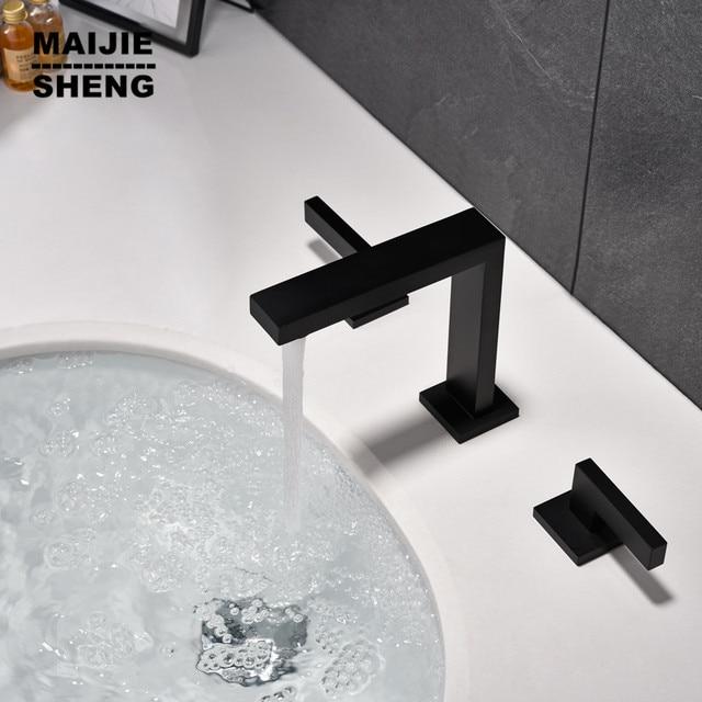 Robinet noir double poignée robinet de lavabo eau chaude et froide salle  bain mitigeur pont