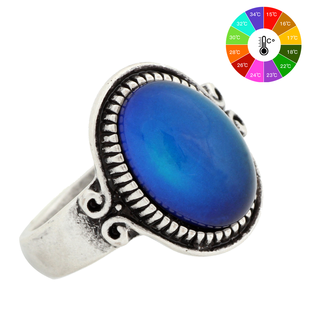 Mojo Punk Ring Vintage Color Change Mood Ring Emotion Feeling Changeable Ring Temperature Control Ring for Women MJ-RS009 punk style pure color hollow out ring for women