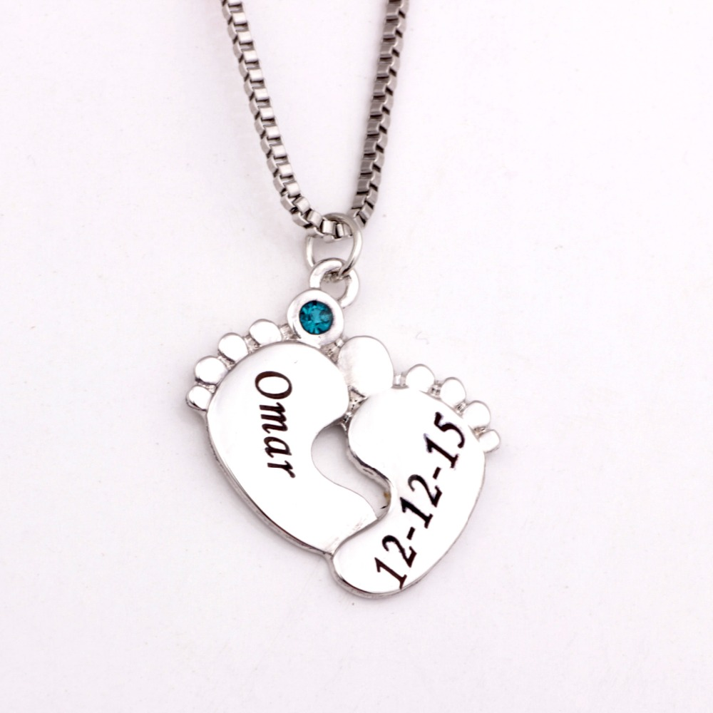 personalized baby pendant necklace with birthstones