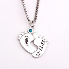 Personalized Baby Feet Pendant Necklace with Birthstones 2016 New Arrival Long Birthstone Necklaces Custom Made Any Name YP2494 стоимость
