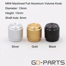Efecto amplificador de Pedal de guitarra macizo, botón de perilla de aluminio, 13x13mm, 6mm, agujero de eje CNC mecanizado, plateado, negro y dorado, 10 Uds.