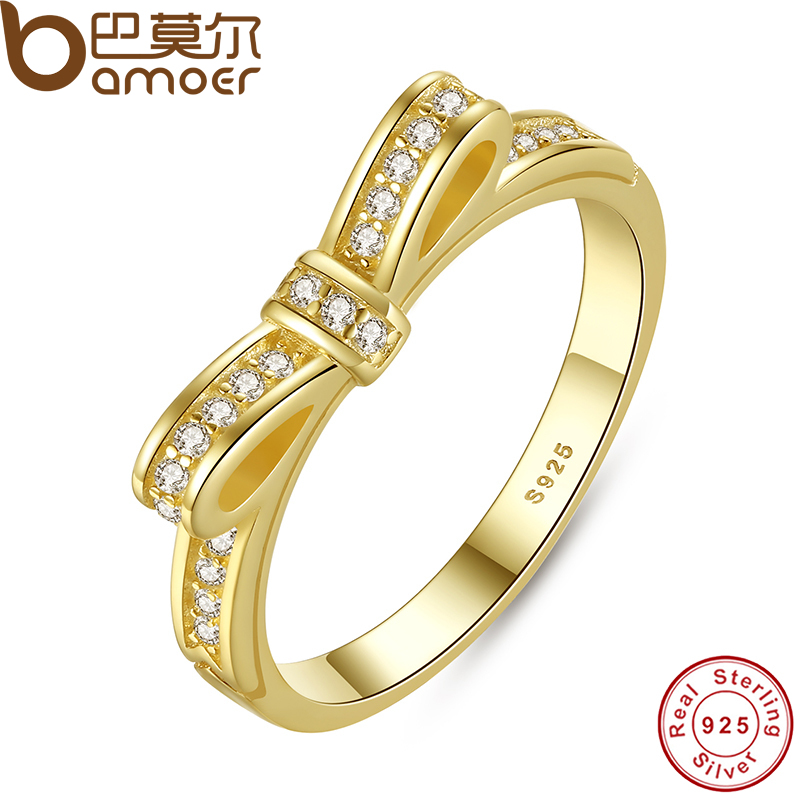 BAMOER Authentic 100% 925 Sterling Silver Bow Knot Stackable Ring Micro Pave CZ Rose Warna Barang Kemas Perkahwinan Wanita PA7129