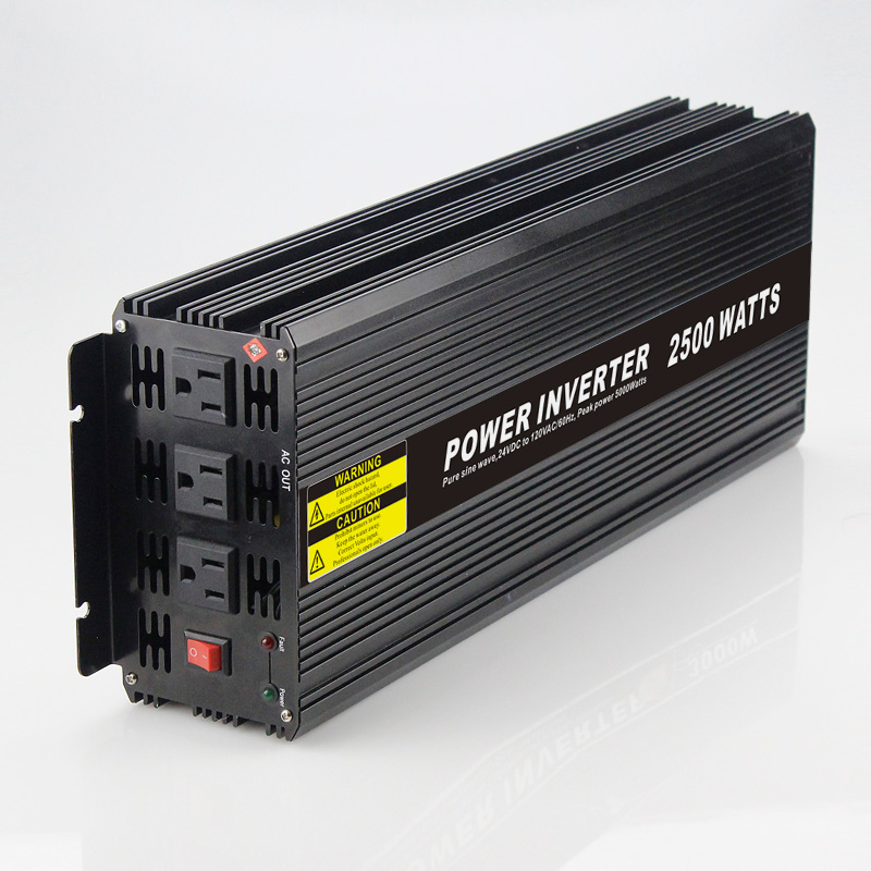 Long lifetime 2500W Car Power Inverter Converter DC 24V to AC 110V or 220V Pure Sine Wave Peak 5000W Power Solar inverters
