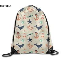 3D Print Beautiful Patterns Shoulders Bag Women Fabric Backpack Girls Beam Port Drawstring Travel Shoes Dust