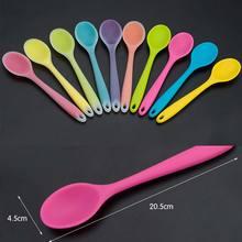 Домашнее использование Мини силиконовая ложка цветные жаропрочные Ложки Посуда кухонная утварь случайный цвет TB распродажа