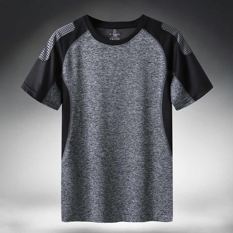 Snel Droog Sport T-shirt Mannen 2019 Korte Mouwen Zomer Casual Katoen Plus Aziatische Grootte M-5XL 6XL 7XL Top Tees gym T-shirt Kleding