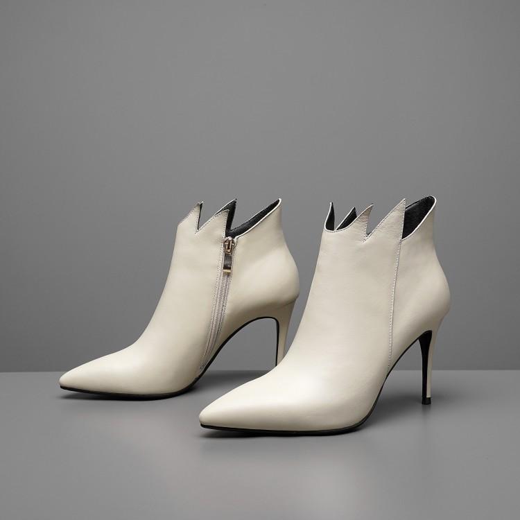 En Femmes Mujer Chaussures Sexy Noir Pour Femme Cheville Véritable Latérale Haute Chic Pointu blanc Talons De Bout Glissière Volants Noir Cuir Zapatos Bottes wppqH0Xx6g