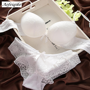 Fashion lace sexy thin deep V-neck push up bra underwear vintage solid color bra set