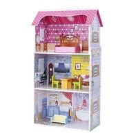 50*24 * см 95 см Девочки большой деревянный розовый дом ролевые игрушки Дети Розовый реальная жизнь деревянная кукла вилла с кукольной мебелью