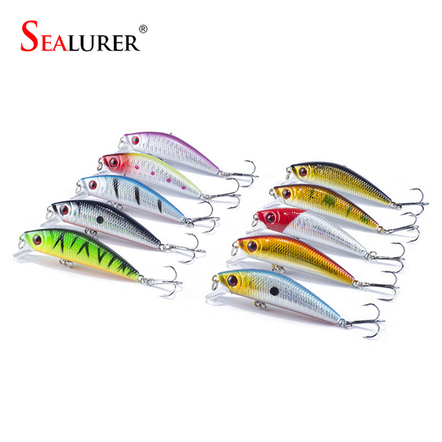 SEALURER  10Pcs/lot  Fishing Lure  Sinking MInnow  Crankbait  With 2   Hooks  7cm/8.5g  Fishing Tackle