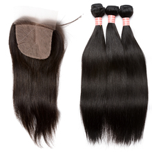 Brazilian Virgin Human Hair Weave Bundles With Silk Base Closure Straight Human Hair Extensions 4×4 Silk Base Closure CARA