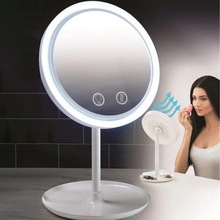 LED Makeup Cosmetic Mirror with Fan 3 in 1 USB Rechargeable Light Desktop