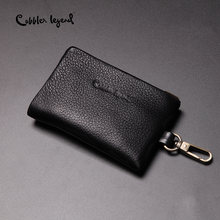 Cobbler Legend Genuine Leather Men Coin Key Holder Zip Card Pouch Bag Mini Keychain Purse Zipper Small Money Organizer Bag(China)