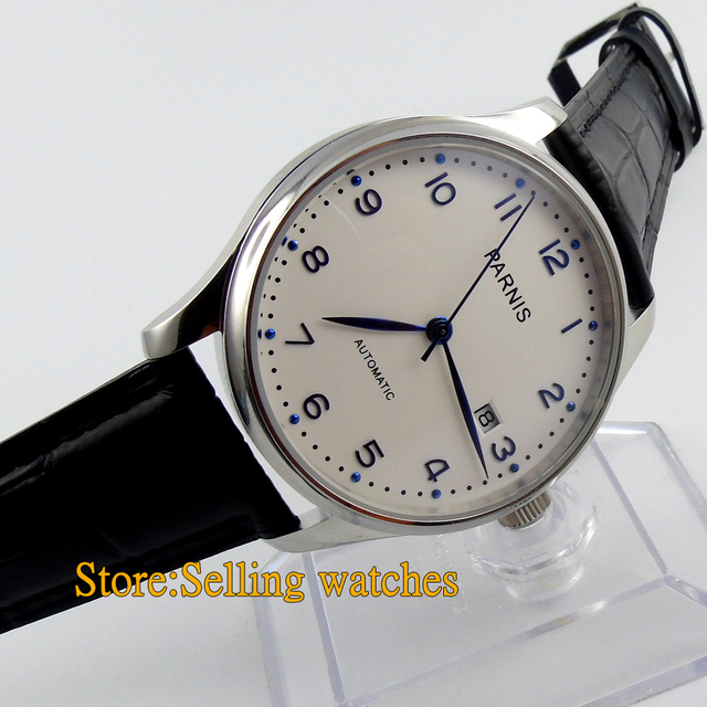 Parnis 43mm automatic white dial stainless steel shell automatic watch