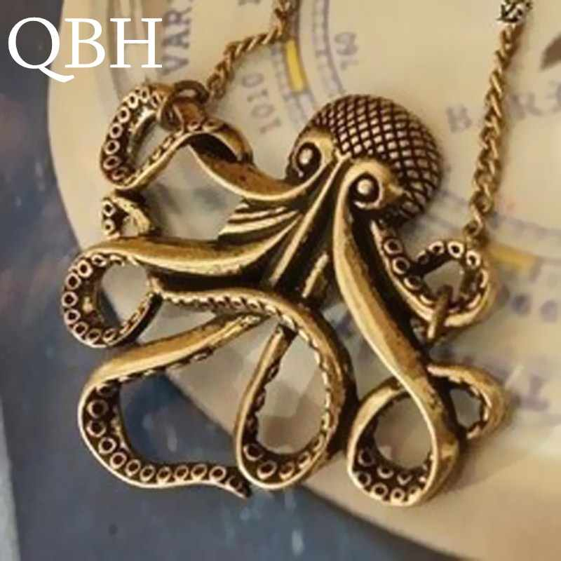 NK113 European Collar Wholesales Pirates of the Caribbean Octopus Man Retro Long Chain Pendant Necklace Women Cheap Jewelry